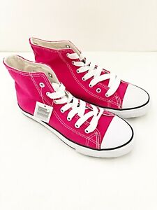 New Girls Pink Casual High Top Canvas Trainer Shoe UK Sizes 3, 5