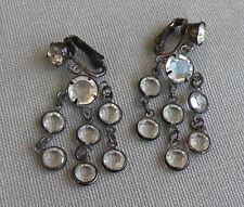 Vintage Sparkley Open Back Crystal Gunmetal Chandlier Clip or Pierced Earrings