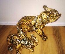 Elephant Figurines La Vie African Safari patchwork Fabric Ceramic Set of 2