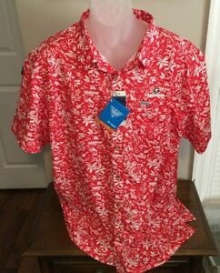 Georgia Bulldogs Columbia PFG Red/White Print Shirt Size XXL NWT