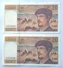2 billets de 20 francs, 1991, numéros suivis, alphabet: T.033, voir photos.
