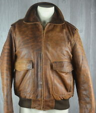 Leather Bomber Jacket Distressed Men's 42 Lamb Leather Quilted Lining