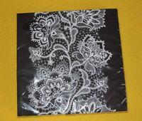 1 PACKUNG 20 Servietten Schwarz weiß LACE Muster Blumen ornamente Black WHITE