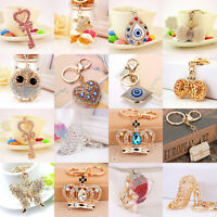 Women Crystal Rhinestone Keyring Charm Pendant Purse Bag Car Ring Chain Keychain