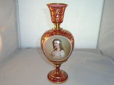 Bohemian Czech 19th Century Cranberry & Gold Vase With Portrait Of Young Girl