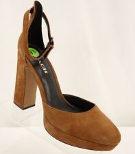 NEW COACH Chrystie Heels Womens 9.5 Brown Suede Ankle Strap Block Heel Platform