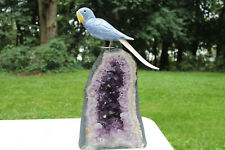 Excellent Large Carved Gemstone Parrot Sculpture on a Excellent Amethyst Geode
