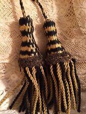 Antique Art Deco Tassels Vintage Silk & Gold Metallic Bullion Drapery 2