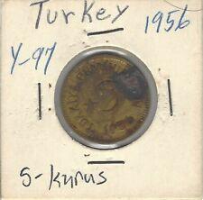 1956 Turkey 5 Kurus Coin