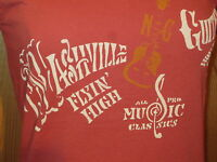 Lucky Tees Nashville Guitars Cotn St#7WD8567 coral SHT SLV  W-M $34.50 NWT