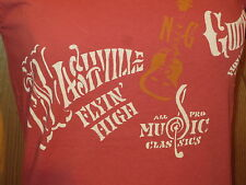 Lucky Tees Nashville Guitars Cotton #7WD8567 coral Short Sleeve Women's Small
