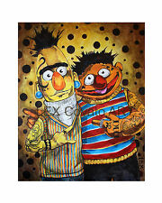 LEX outsider SuRReal Bert & ErNie tattoo PRINT Sesame Street edgy PoP art muppet