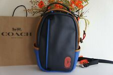 NWT Coach 5592 Edge Pack/Sling Pack Smooth Leather Blue Multi $398