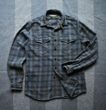 Ralph Lauren Rugby Heavy Flannel Checked Shirt Size M Anchor Buttons Vintage RRL