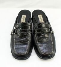 "BRIGHTON Size 7.5 ""Jordan"" Black Leather Croc/Alligator Charm Mules Slides Italy"