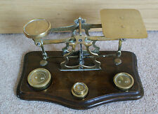 Antique Brass Postal Scales With Weights Wood Mounted Collectors Post Office