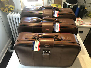 Vintage 3 piece American tourister luggage set Brown Faux Leather