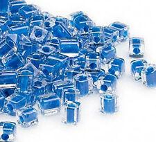 100 MIYUKI CUBE BEADS BLUE LINED CRYSTAL 4MM
