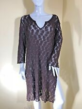MELA PURDIE BROWN LACE LONG SLEEVE SPLIT SIDE TUNIC /DRESS SZ 18