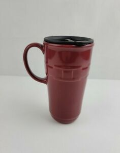 Longaberger Paprika Red Pottery Travel Mug Woven Traditions Coffee Cup With Lid