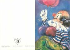 Postcard Comic Switzerland clown mit luftballon paint draw art costume red nose