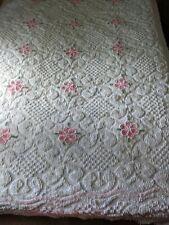 "Beautiful Vintage Chenille Bedspread Pink Flowers Penneys 102"" x 93"""