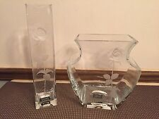 "Set of 2 ~ Mikasa ""ENDLESS LOVE""  Crystal Embossed Frosted Rose Vase"