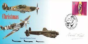 Christmas  Hurricane, Spitfire, Lancaster  signed by C.B.Fish, Navigator 617 Sqn