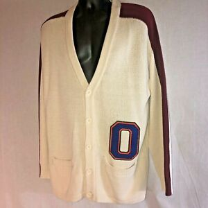 Urban Outfitters Cardigan Varsity Sweater Letterman O Chenille Large Striped NEW