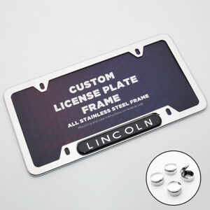 Chrome Stainless Front Rear Lincoln Logo Emblem License Plate Frame Cover Sport