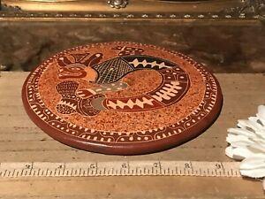 "Costa Rica Pottery Lizard Design Wall Decor Trivet Handmade Signed 7 1/4"""