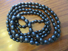 "Black Glass Bead 49"" Necklace! Antique Estate Victorian Mourning Jewelly Satin"