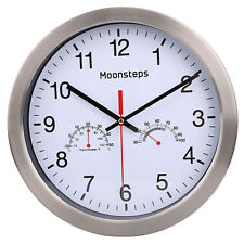 """12"""" Modern Indoor/Outdoor Wall Clock With Temperature and Humidity Gauge"""