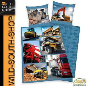 Bagger Kipper Baustellen Bettwäsche 80x80 135x200cm 100% Baumwolle RV Herding