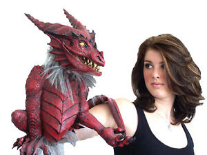 Dragon Puppet with Tail Red Beast Halloween