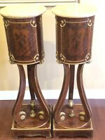 PAIR OF VINTAGE ANTIQUE TALL FRENCH BRONZE PEDESTAL MARBLE TOP COLUMN STAND