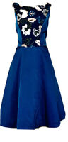 Kay Unger Women With Sequence Dress Formal A Lined Flared Blue Dress. Sz. 14