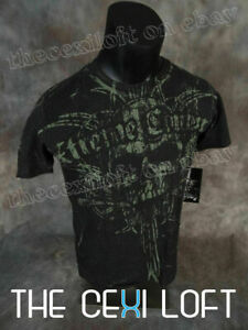 Mens XTREME COUTURE T Shirt VICTORY In Deep Green with Faded Skull Grafix!!