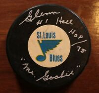 St. Louis Blues Glenn Hall Signed Autographed Art Ross Converse Game Puck NHL
