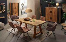 Esstisch Holz Esszimmermöbel Küchentisch Baumkantentisch  Platte Teak Gestell Me