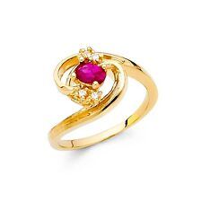 Red CZ Cocktail Ring Solid 14k Yellow Gold Fashion Band Oval CZ Stylish Fancy