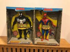Vintage Spider Man-Venom-Hulk ToyBiz 1991 Marvel SUPERSIZE SUPER HEROES MIB SET