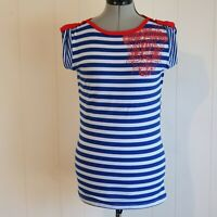 Tightrope Women's Size 12 Blue & White Striped Short Sleeve Top T-Shirt Z18
