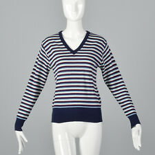 S 1970s Striped V-Neck Sweater Long Sleeves Pull Over Casual Blue Purple 70s VTG