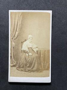 Victorian Carte De Visite CDV: Old Lady Shawl Cap Named Jenkins: Moody Penzance