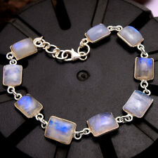 Natural Rainbow Moonstone Gemstone 925 Sterling Silver Handmade Bracelet