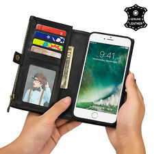 2017 Newest [Card Slot+Side Pocket] 2x Genuine Leather Case For Apple iPhone 7 8