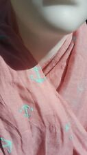 Pañuelo para el cuello bufanda chal ANCLA ROSA TURQUESA MARÍTIMO TALLA 180 x 70