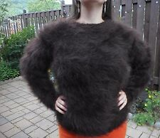 Hand Knit Furry 80% MOHAIR sweater! Fluffy Fuzzy Large XL long hair!
