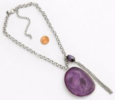 Chico's Signed Necklace Silver Tone Chains Bold Purple Swirl Pendant & Bead